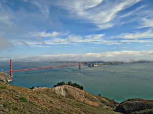 From Hawk Hill to San Francisco. Mashed Potato clouds make me hungry.
