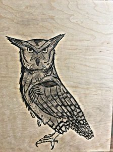2. Put a large Owl down on a wood panel for painting at a later date.