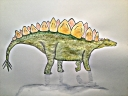 stegosaurus pen watercolor